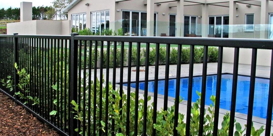 Black Pool Fence White House
